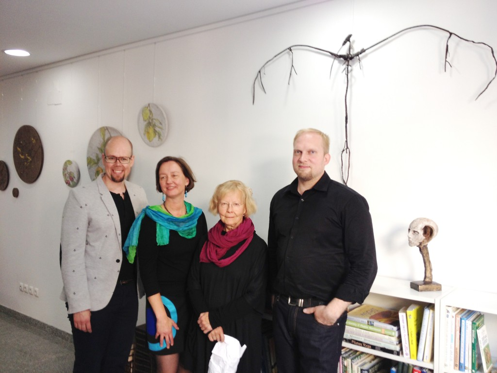 The artists and the gallerist – Tero Annanolli (left), Leena Marjola, Helinä Hukkataival, Lasse Nissilä